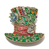 "Heidi Daus ""Mad Hatter"" Crystal and Enamel Pin"