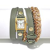 La Mer Pollara Goldtone Chain Gray Leather Wrap Watch