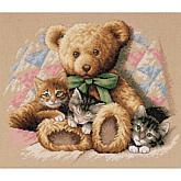 "Teddy and Kittens Counted Cross Stitch Kit - 14"" x 12"""