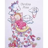 Tobin Birth Record Cross Stitch Kit - Giraffe (Girl)