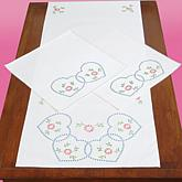 Stamped Dresser Scarf and Doilies Perle Edge 3-pack