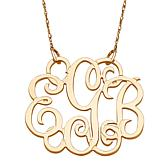 10K or 14K Gold 3-Initial Fancy Monogram Necklace