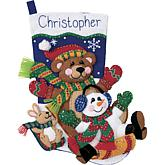 Toboggan Trio Felt Stocking Applique Kit