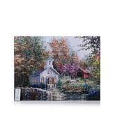 Winter Lane Fiber-Optic Lit Canvas Art with Remote - Country Church