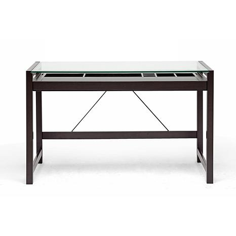 Computer Cabinets Idabel Dark Brown Wood Modern Desk with Glass Top