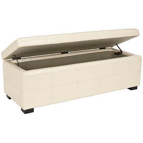 Safavieh Maiden Tufted Large Storage Bench Flat Cream Hsn