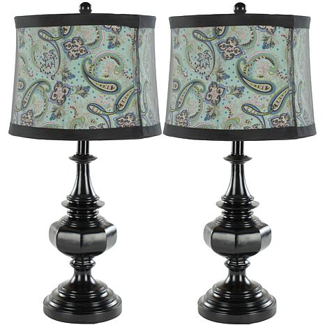 Safavieh Set of 2 Table Lamps with Black Paisley Shade