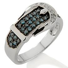 ".31ct Colored and White Diamond Silver ""Buckle"" Ring"