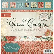 "Coral Couture Paper Stack 12"" x 12"" - 48 Sheets"