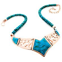 Jay King Turquoise Inlay Reversible Copper Bib Necklace