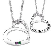 Mother's Birthstone Crystal and Diamond Heart Pendant