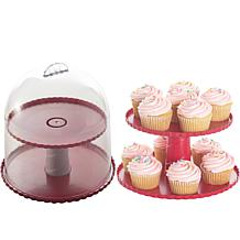 Nordic Ware Two-Tier Dessert Pedestal with Dome Lid