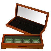 Oak Display Box for 4 Slabbed Coins